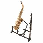 OnStage SXS7201B - стойка для 2-х саксофонов, с доп.держателем для 2-х флейт/кларнетов, черная